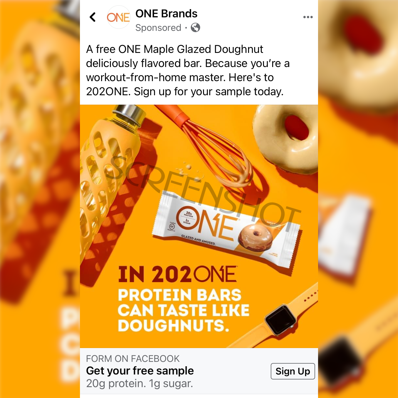 Sponsored ad for a Free ONE Maple Glazed Protein Bar