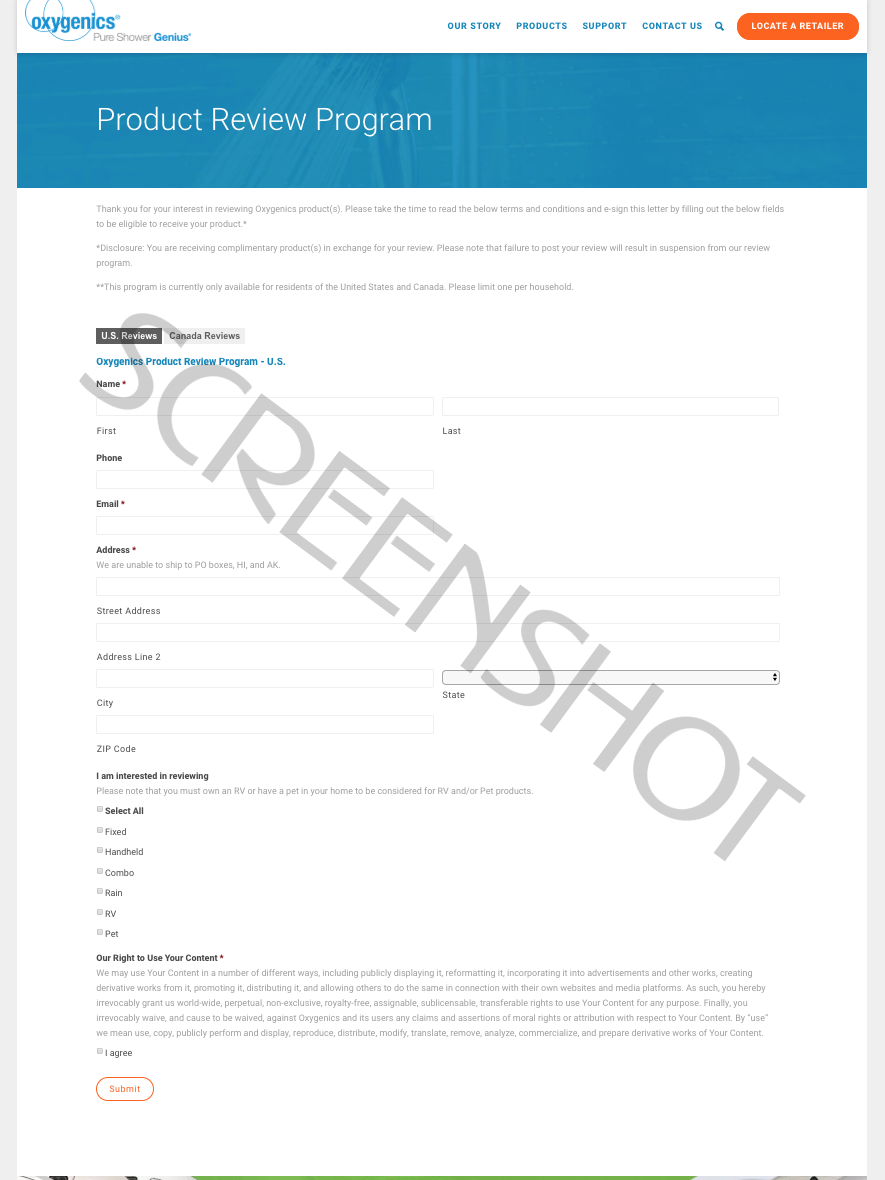 Screenshot of Oxygenics Product Review Program page