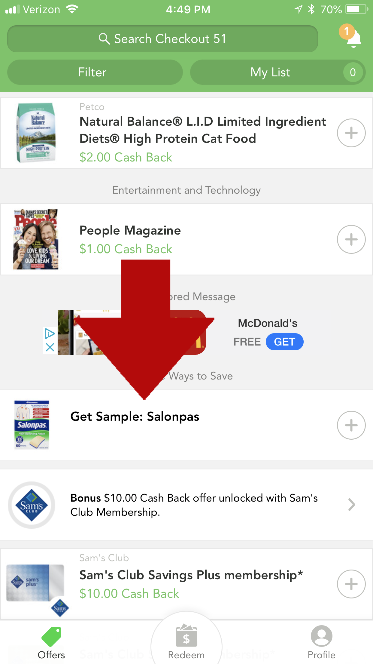 Screenshot of Free sample offer from Checkout51