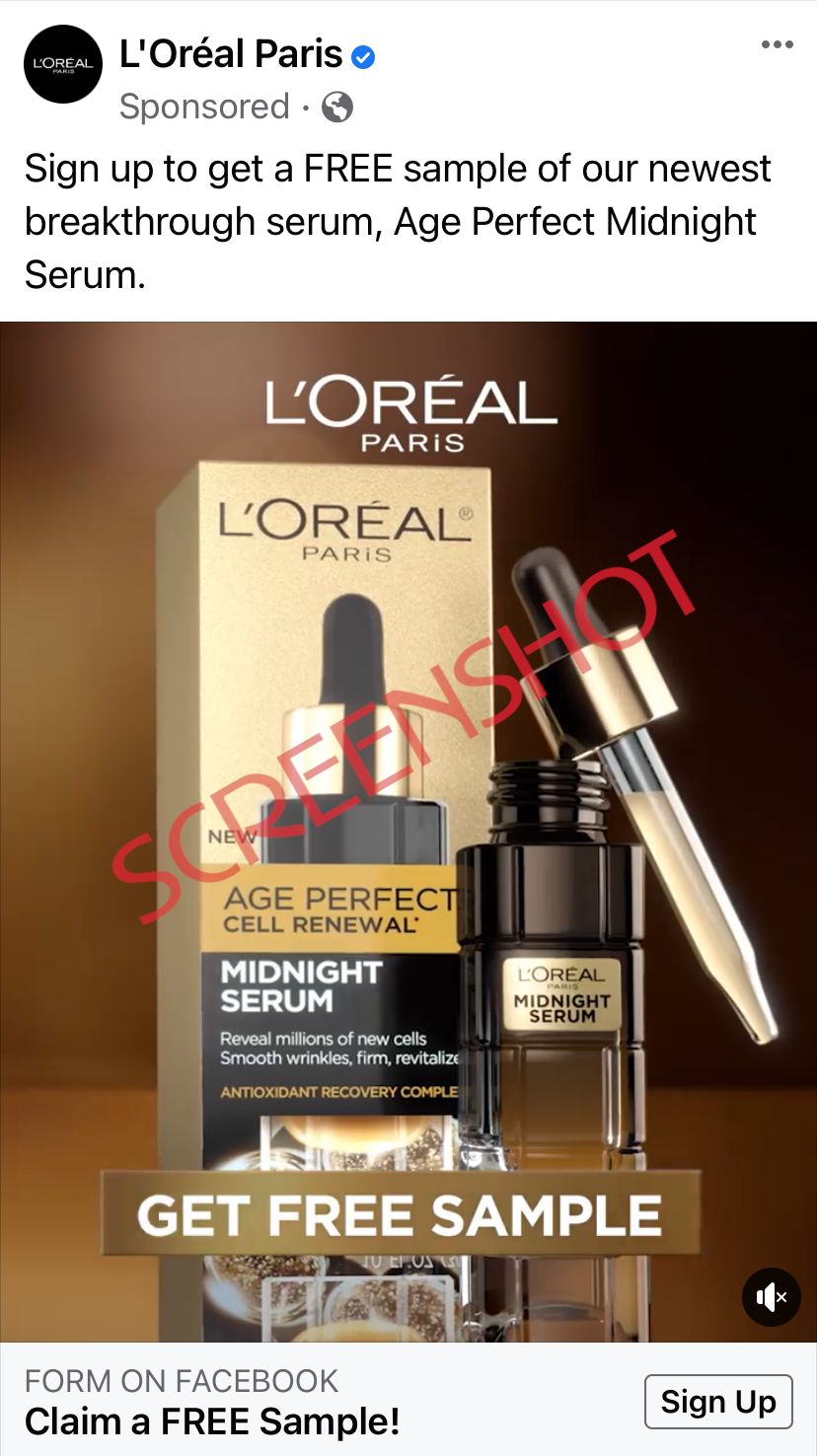 Screenshot of sponsored ad on Facebook for a FREE sample L'Oreal Paris Midnight Serum