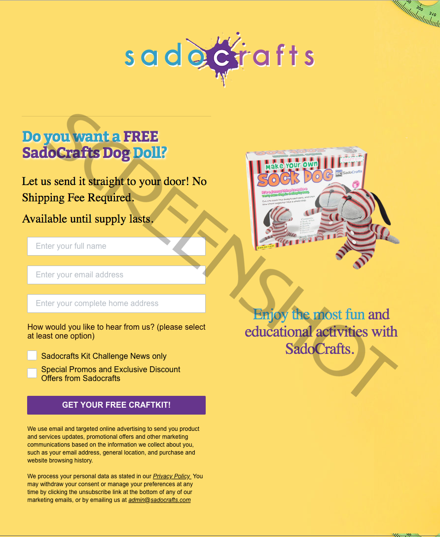FREE Sample Offer Page Screenshot