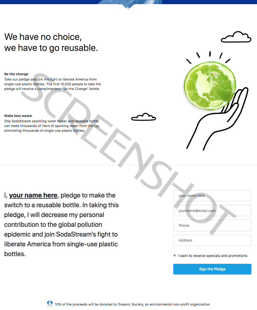 Screenshot of FREE 'Be the Change' Bottle Offer from SodaStream