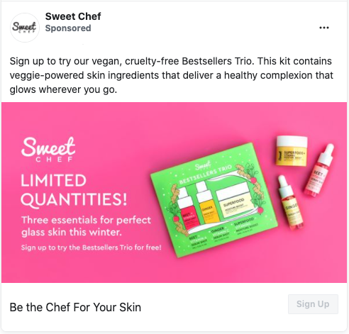 Possible FREE Sweet Chef Skincare Trio Set