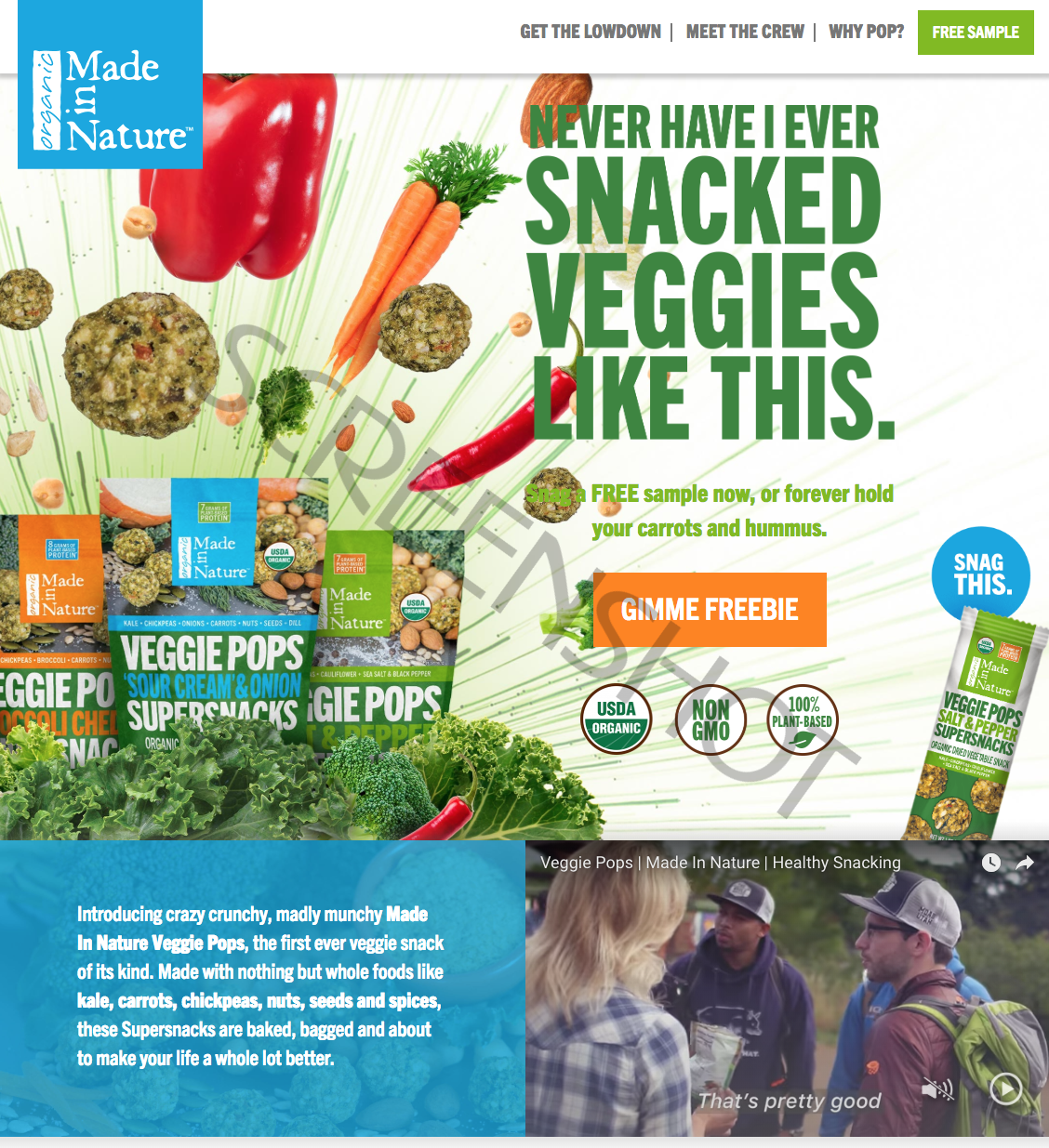 Screenshot of FREE Veggie Pops Sample Offer