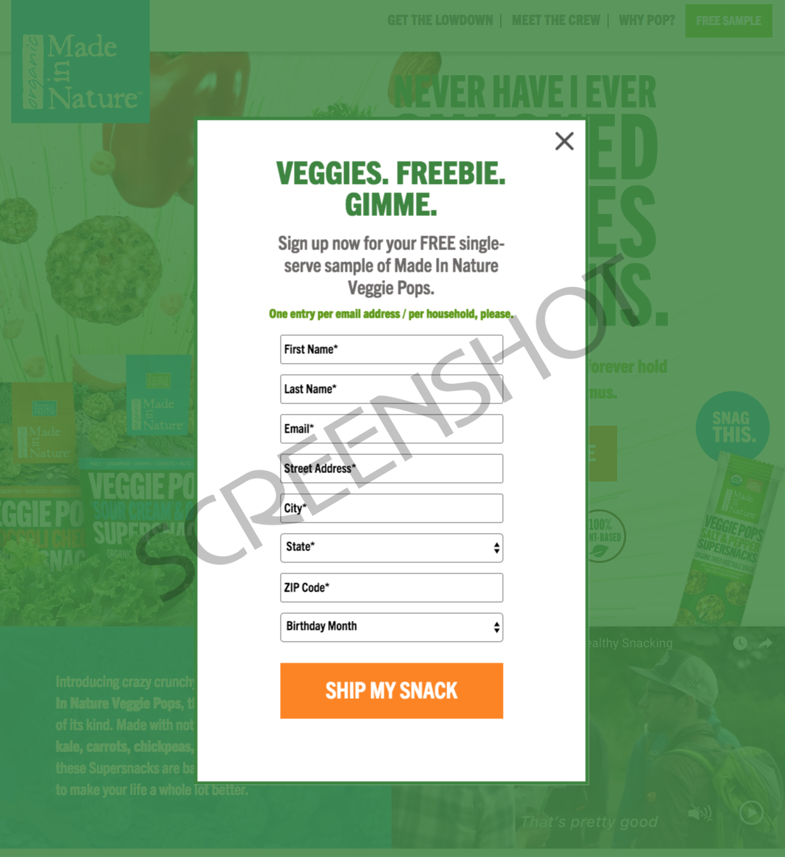 Screenshot of FREE Veggie Pops Sample Offer Request Form