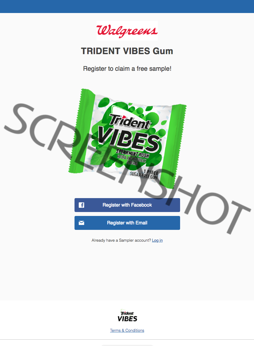 Screenshot of FREE Trident Vibes Gum 1-Piece Sample