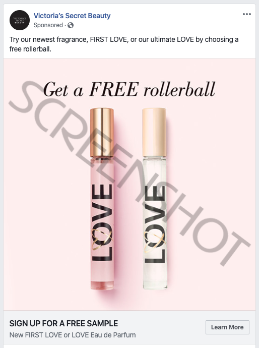Screenshot of Sponsored Ad for Free Victoria's Secret Rollerball