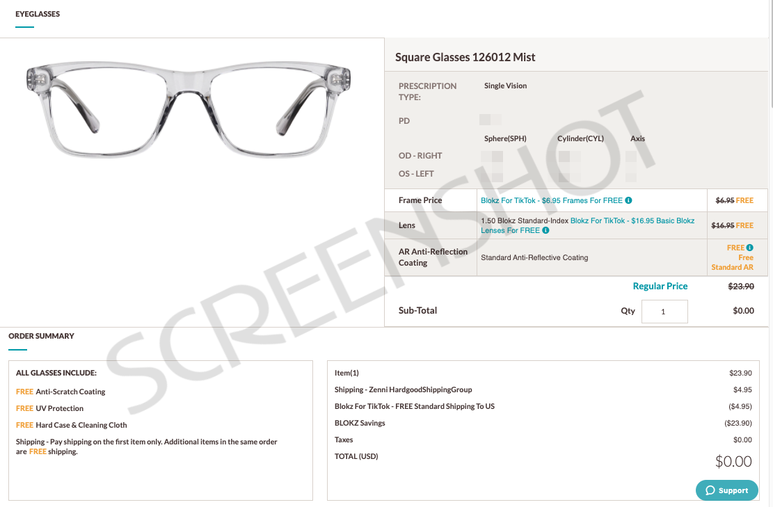 FREE Pair of Prescription Glasses with FREE Shipping