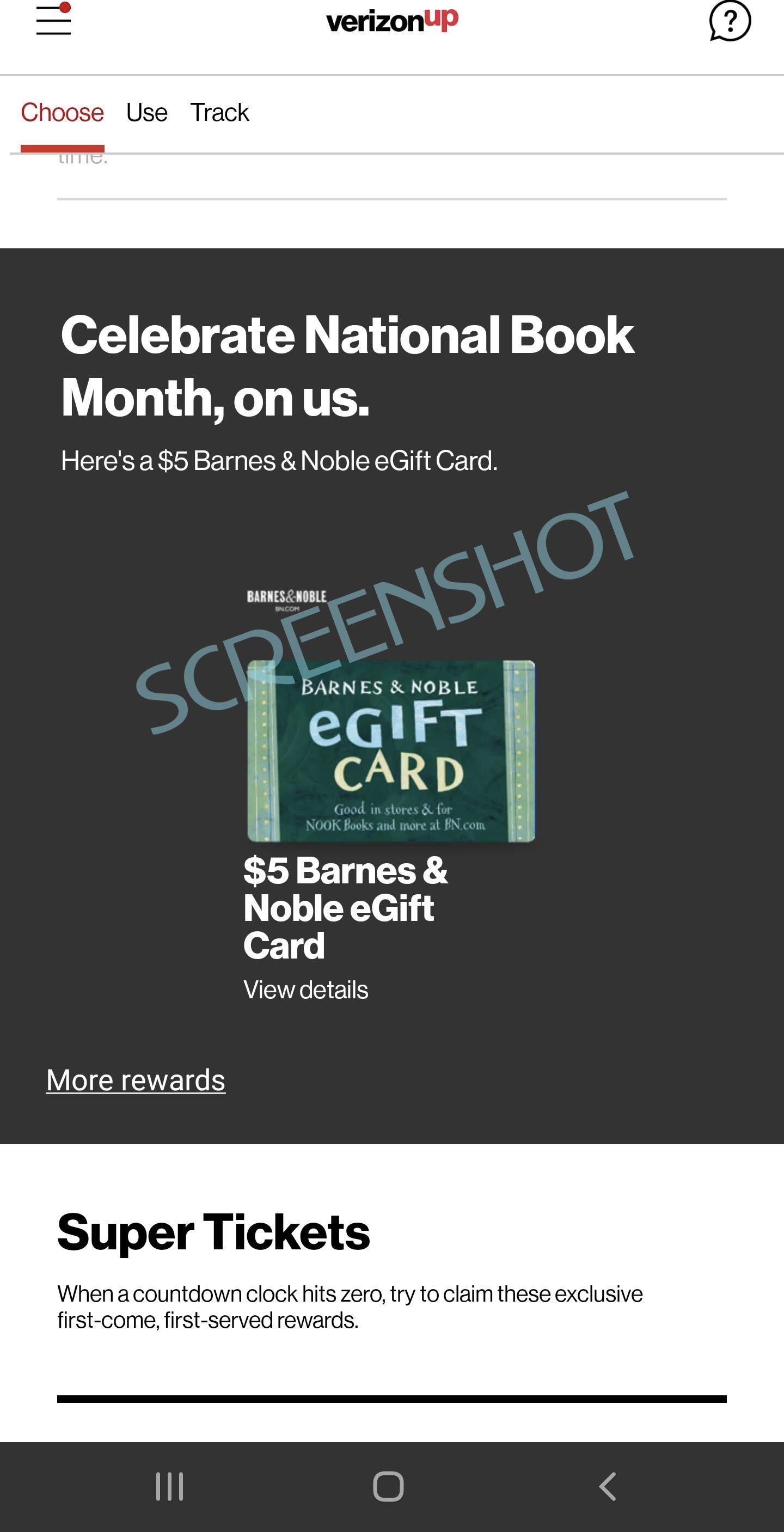FREE $5 Barnes & Noble eGift Card  Offer in the Verizon Up Rewards App