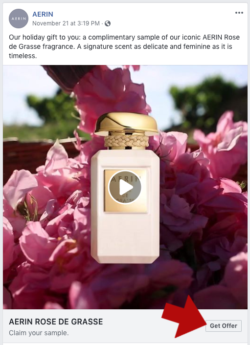Screenshot of Free Parfum Sample Offer