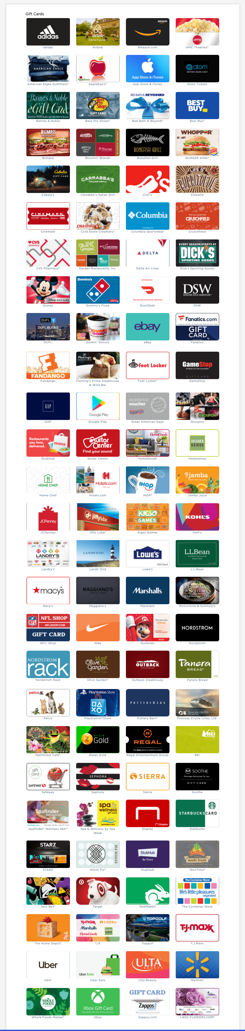 All the gift card choices available