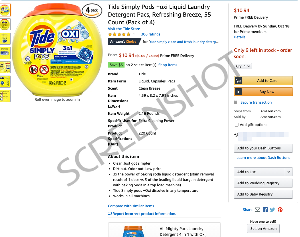55-Count Tide Simply Pods +oxi Liquid Laundry Detergent Pacs Deal