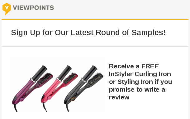 FREE InStyler Curling Iron or Styling Iron