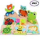 8-Pack 3D Wooden Toddlers Puzzles $12.49