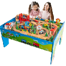 Wooden Train Track Set & Table $69.99