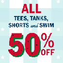 50% Off ALL Tees, Tanks, Shorts and Swim